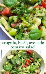 This image has an empty alt attribute; its file name is tomato-avocado-and-arugula-salad-beauty-bites-edited.jpeg